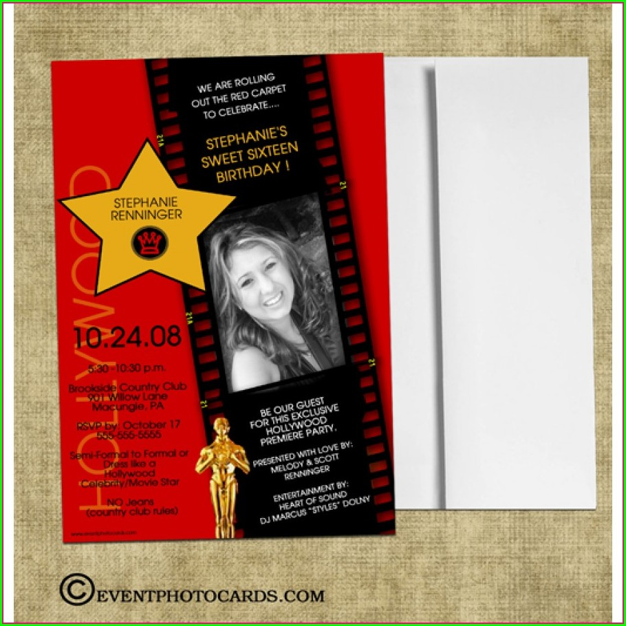 Red Carpet Sweet 16 Invitations
