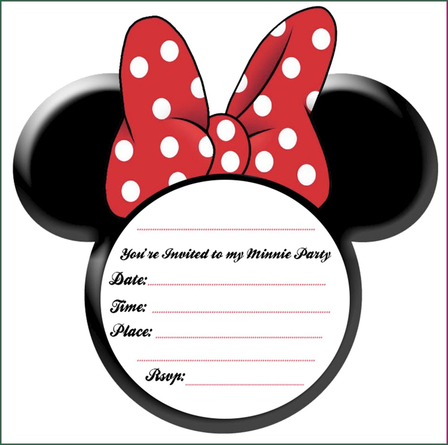 Red Minnie Mouse Invitations