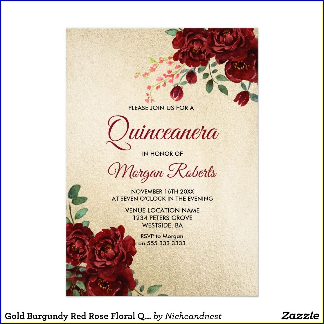 Red Rose Quinceanera Invitations