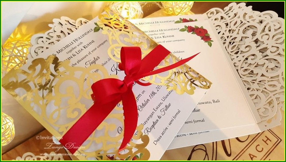 Red White And Gold Wedding Invitations