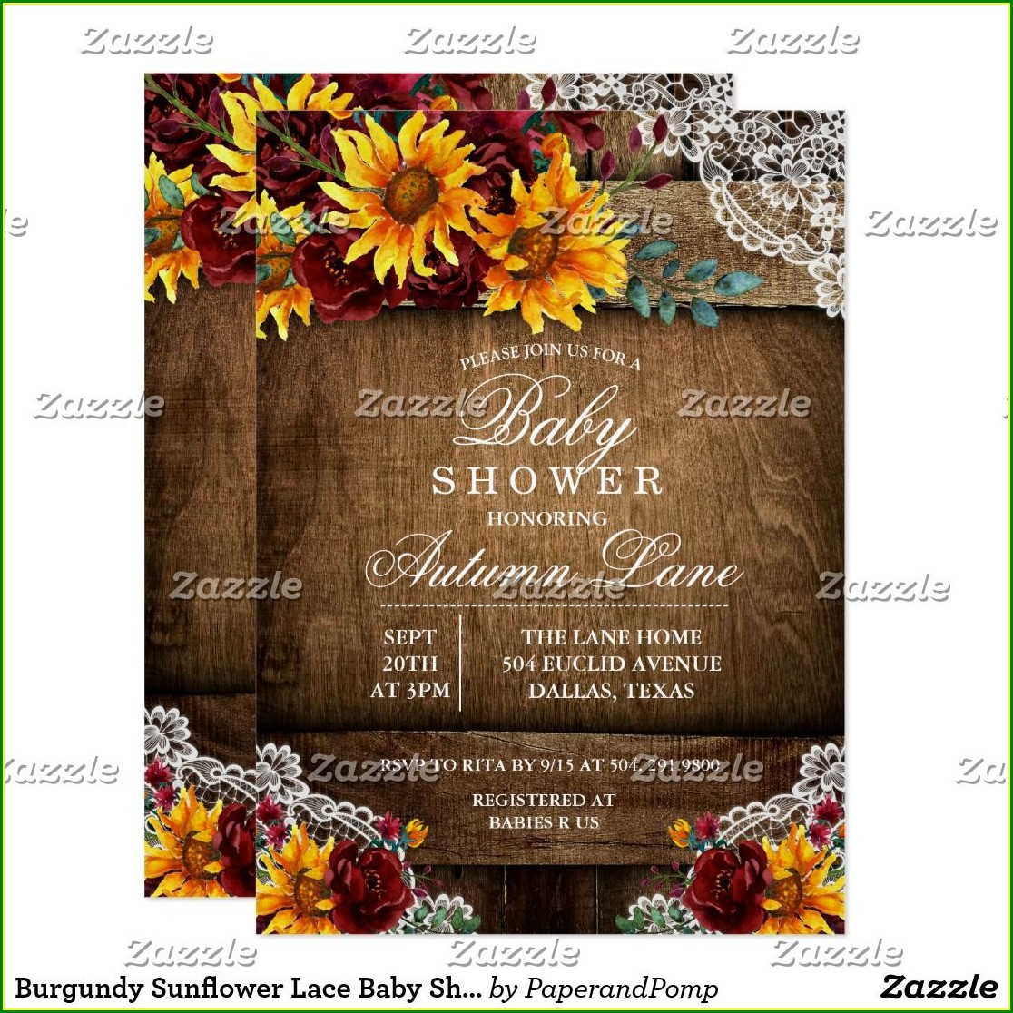 Rehearsal Dinner Invitations Sunflower