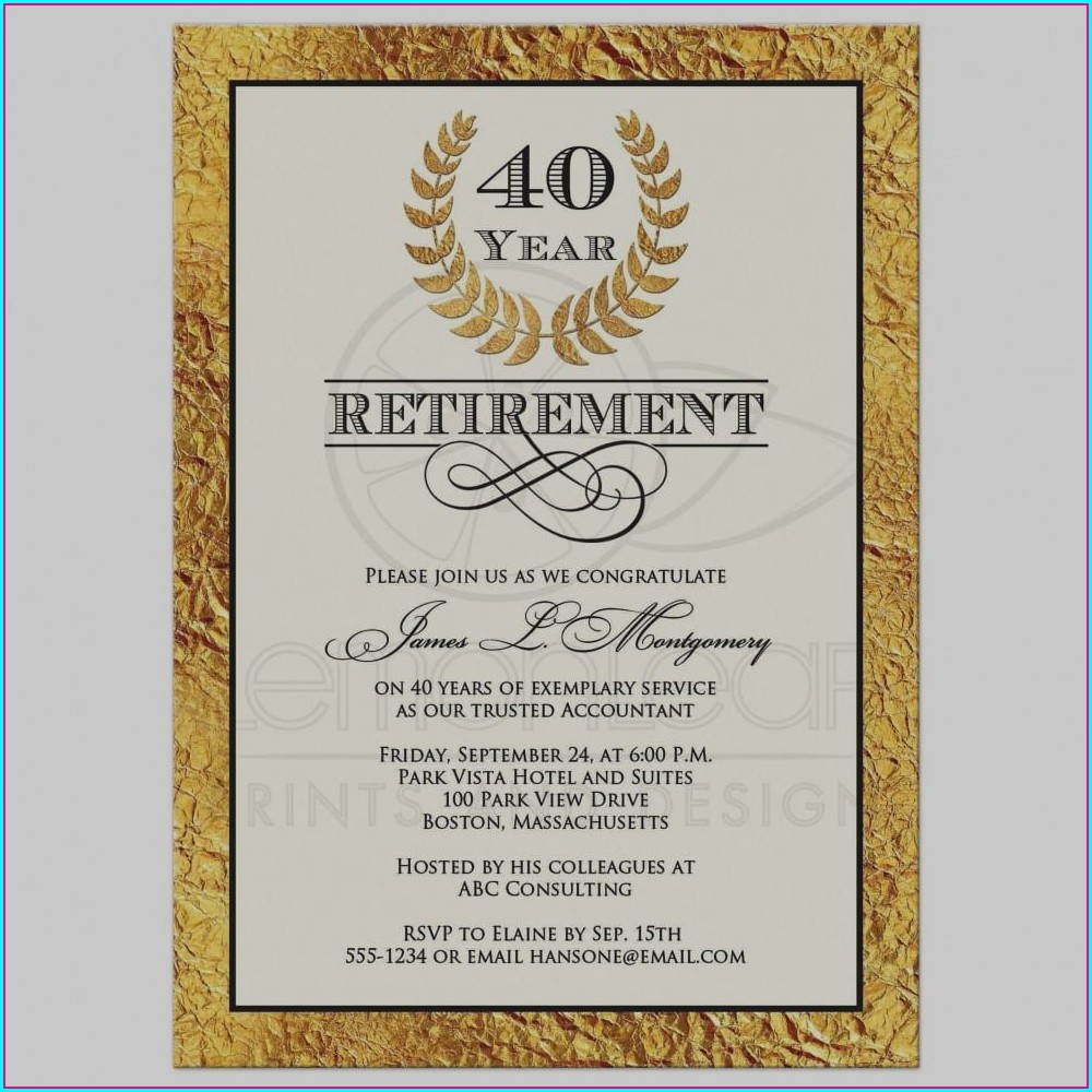 Retirement Invitation Wording Examples