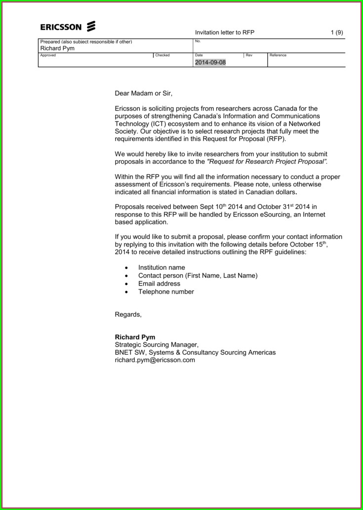 Rfp Invitation Email To Vendors
