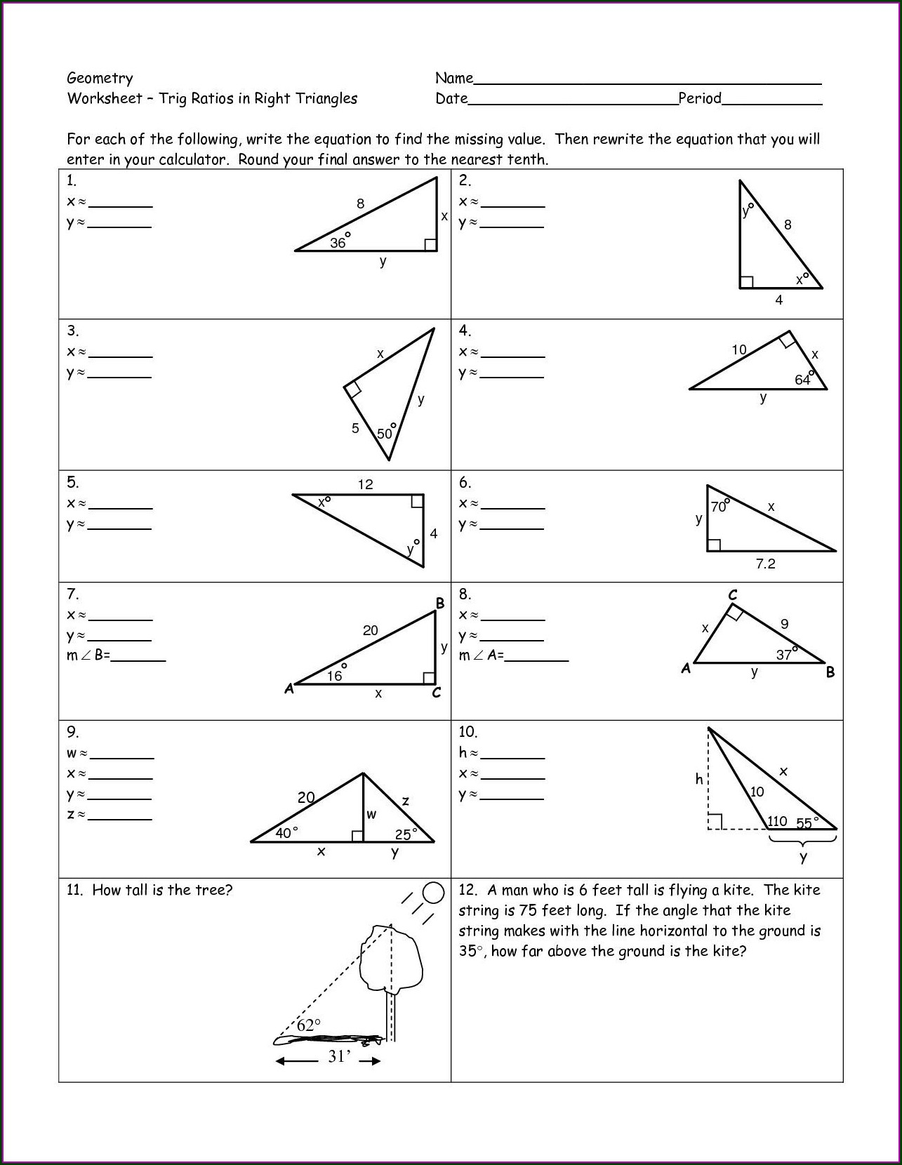 Right Triangle Trigonometry Word Problems Worksheet With Answers Pdf