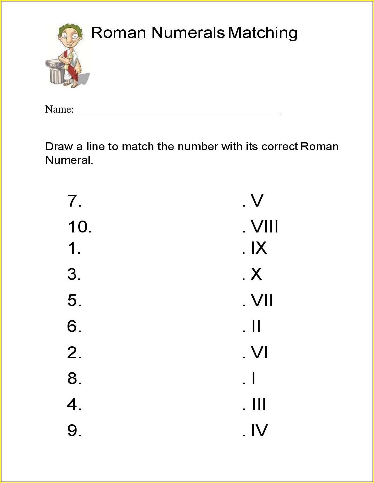 Roman Numerals Code Worksheet