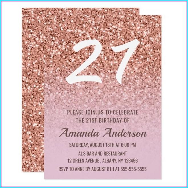Rose Gold 21st Birthday Invitations