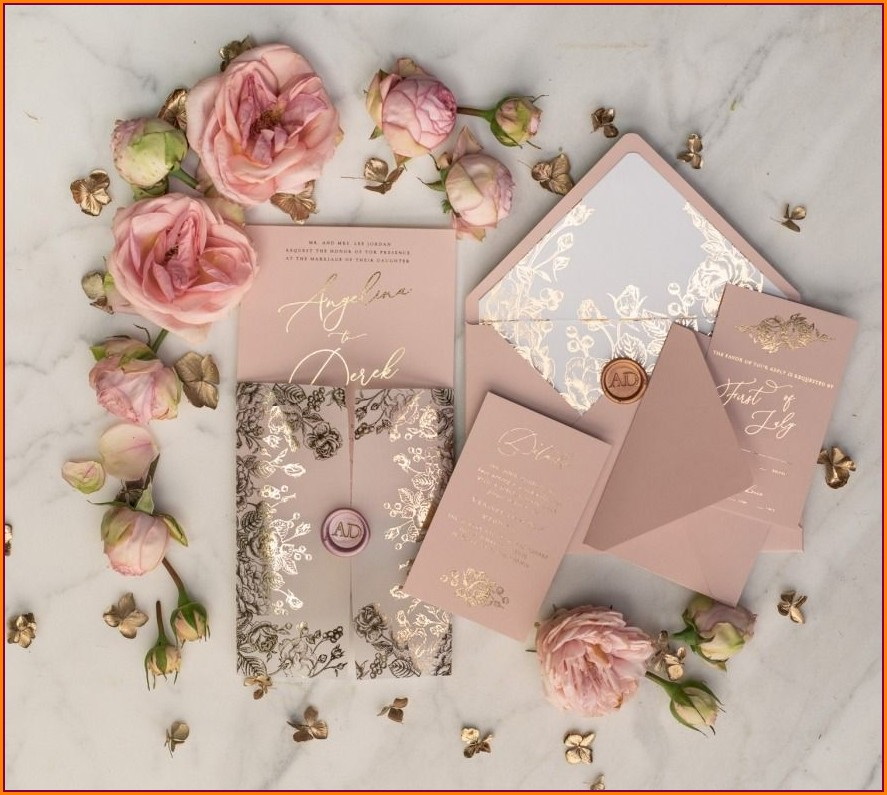 Rose Gold And Blush Wedding Invitations