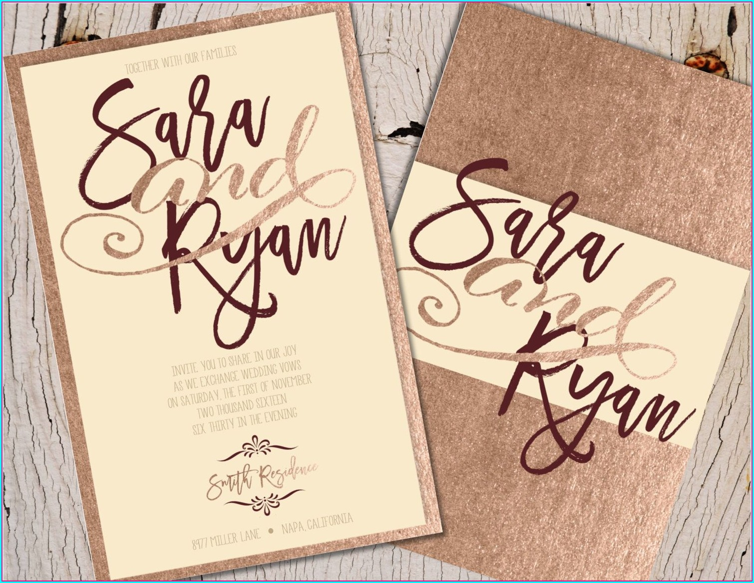Rose Gold And Burgundy Wedding Invitations
