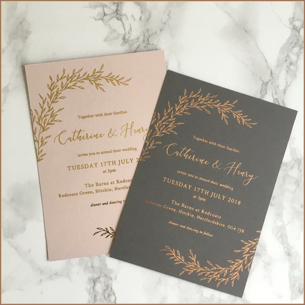 Rose Gold And Grey Wedding Invitations