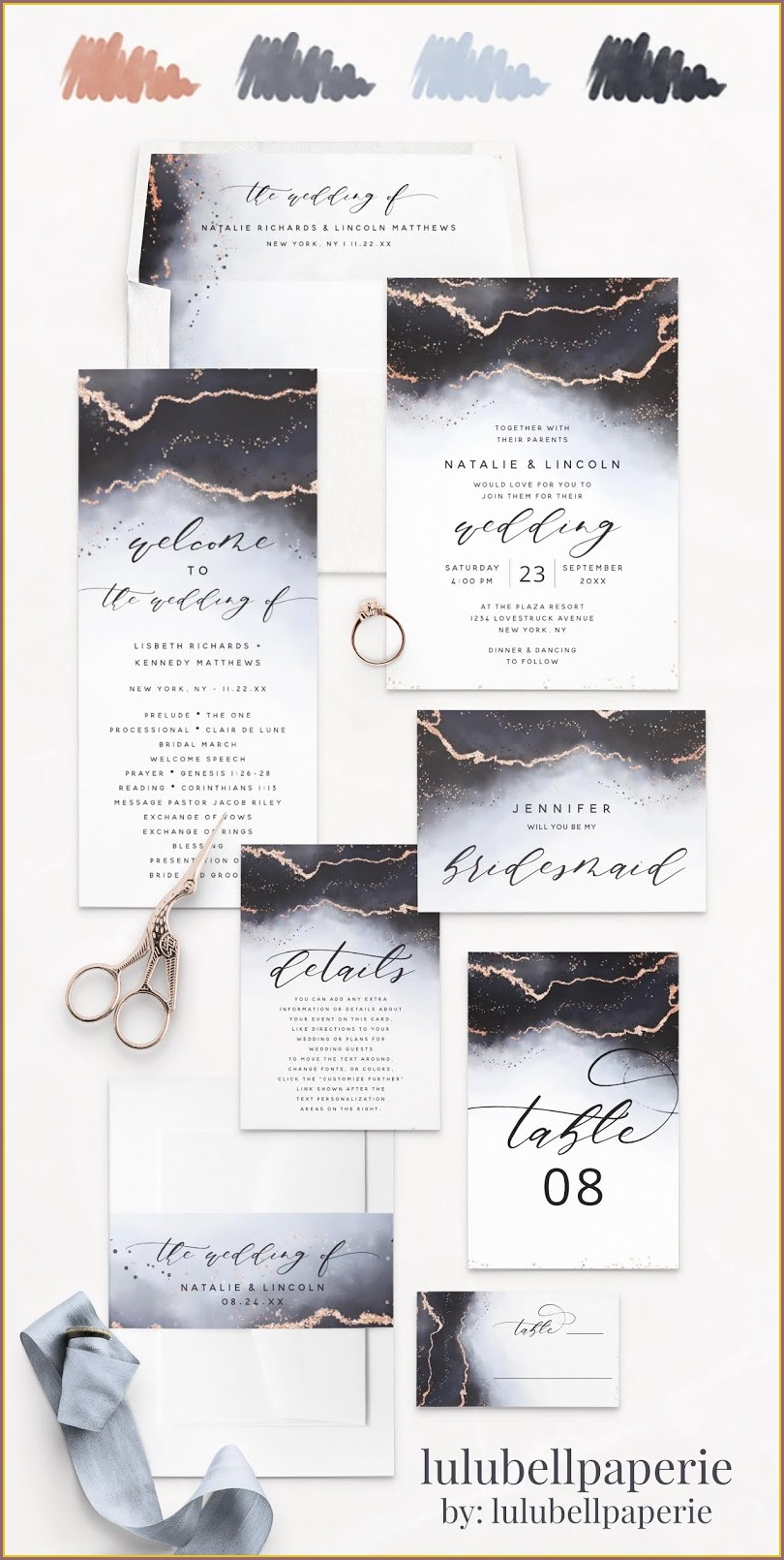 Rose Gold And Navy Blue Wedding Invitations