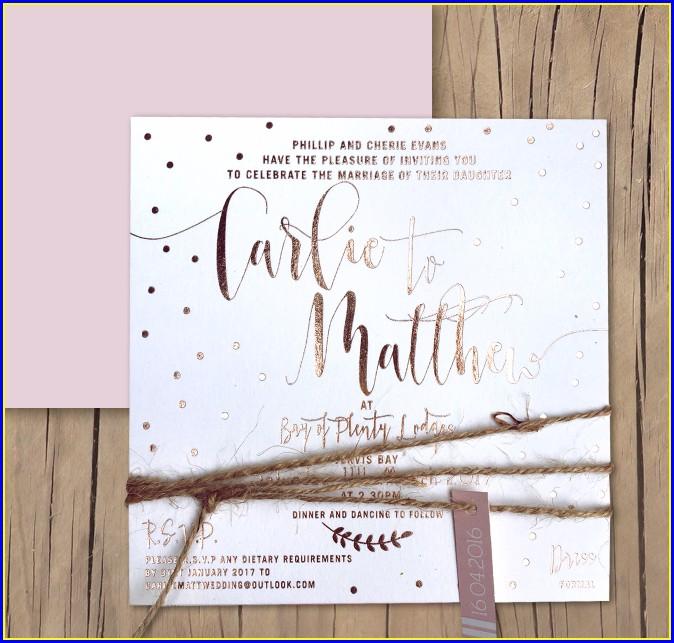 Rose Gold Foil Wedding Invitations Australia