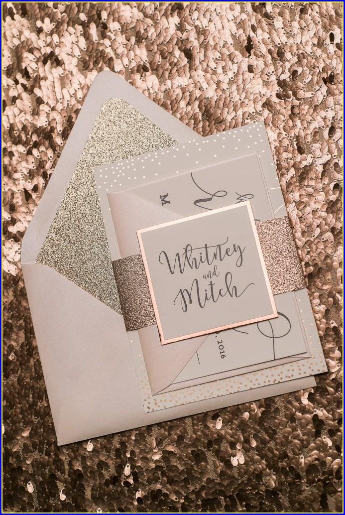 Rose Gold Glitter Wedding Invitations
