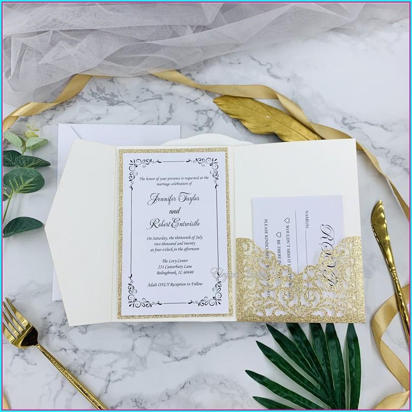 Rose Gold Laser Cut Wedding Invitations