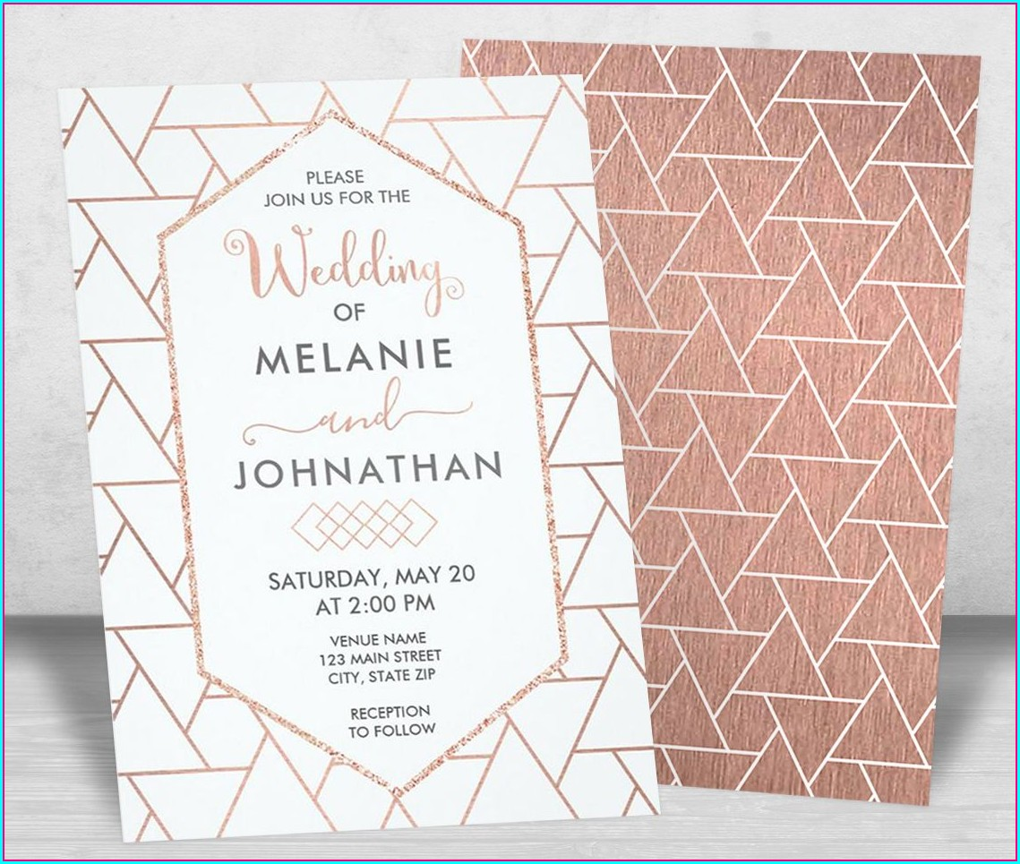 Rose Gold Modern Wedding Invitations