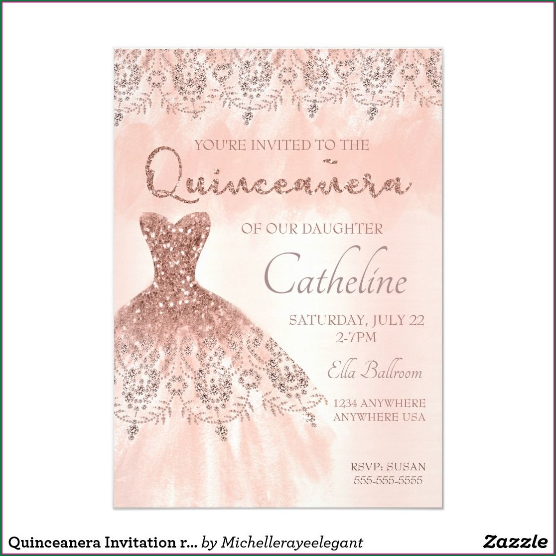 Rose Gold Quinceanera Invitations