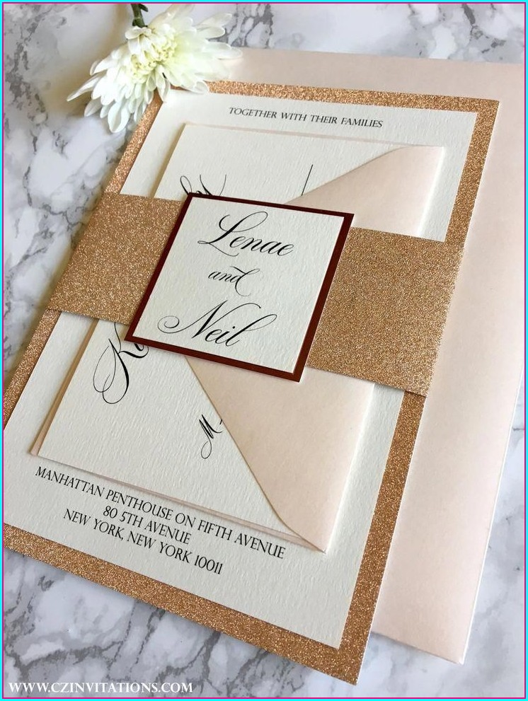Rose Gold Wedding Invitations Cheap