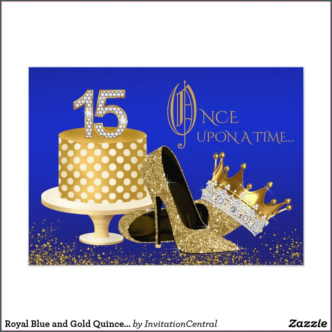 Royal Blue And Gold Quinceanera Invitations