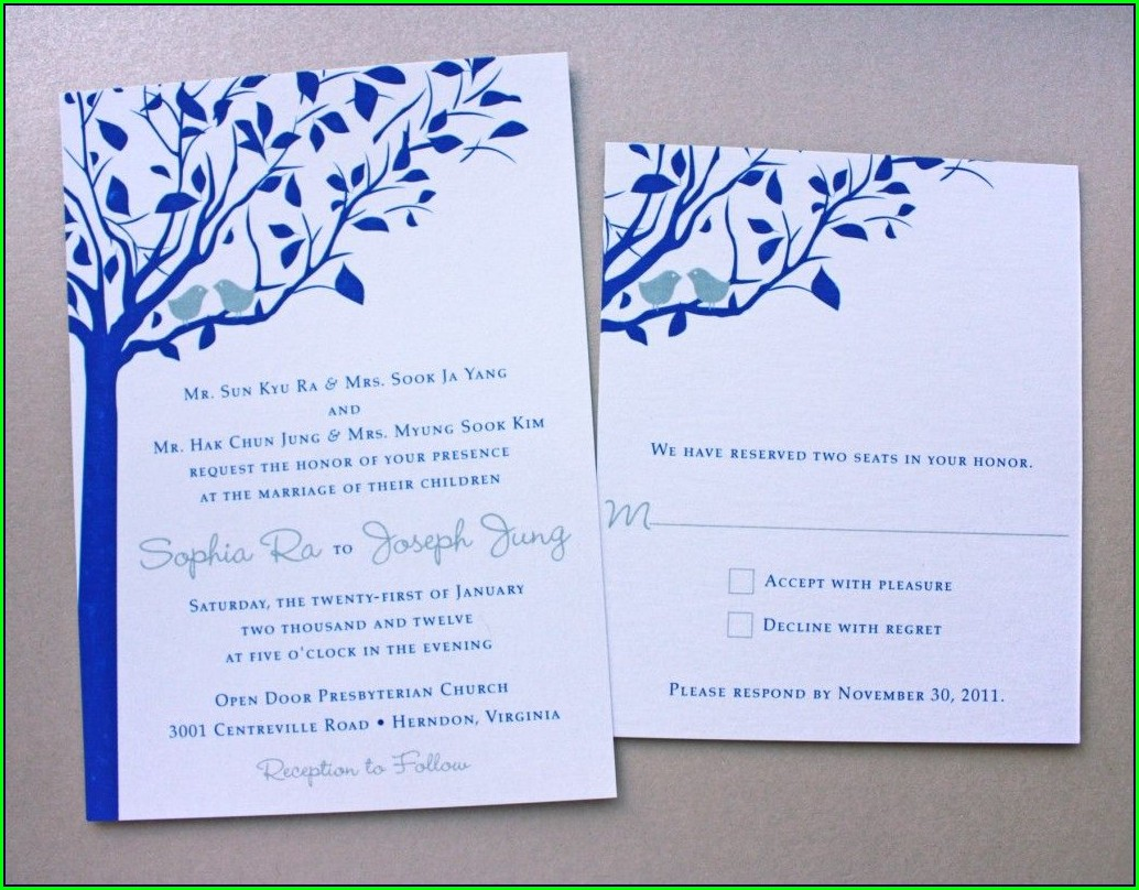 Royal Blue And Peach Wedding Invitations