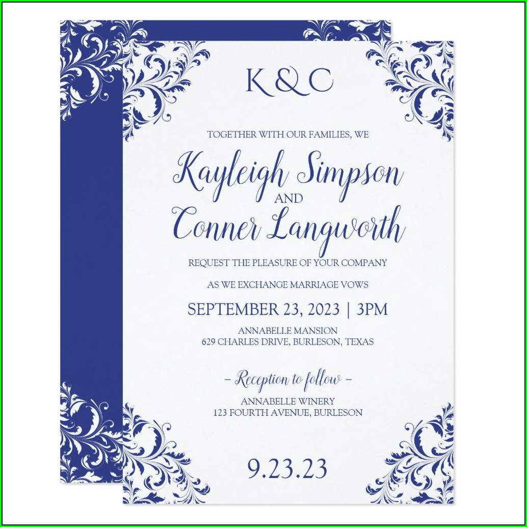 Royal Blue Elegant Royal Blue Wedding Invitations