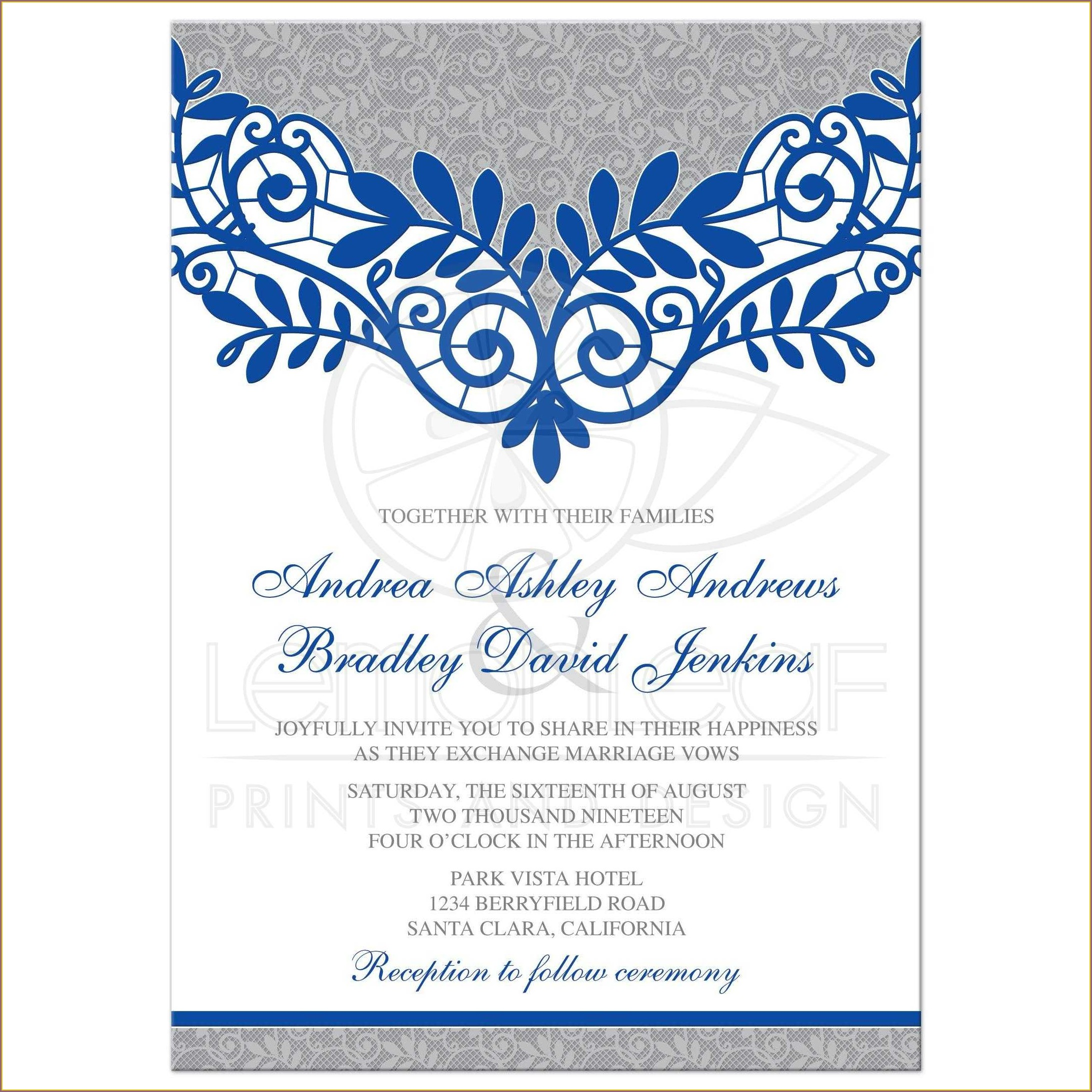 Royal Blue Floral Wedding Invitation Background