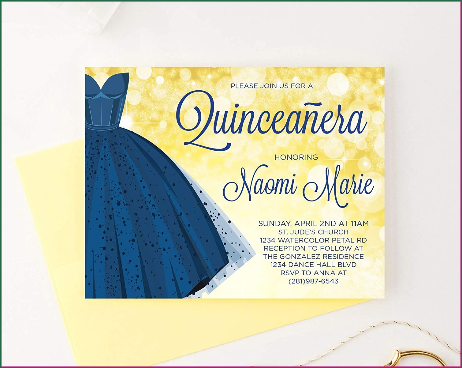 Royal Blue Quinceanera Invitations