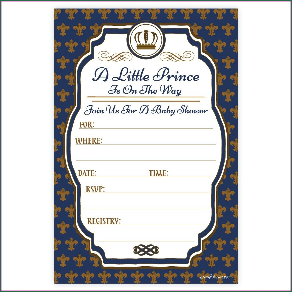 Royal Prince Baby Shower Invitation Template Free