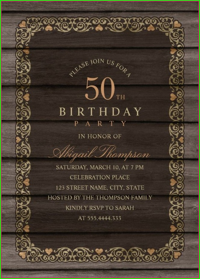 Rustic 50th Birthday Invitations