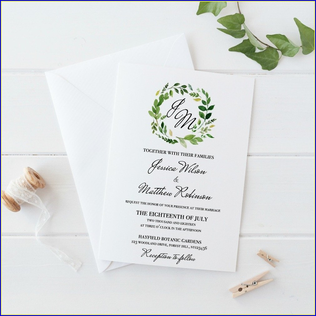 Rustic Greenery Wedding Invitations