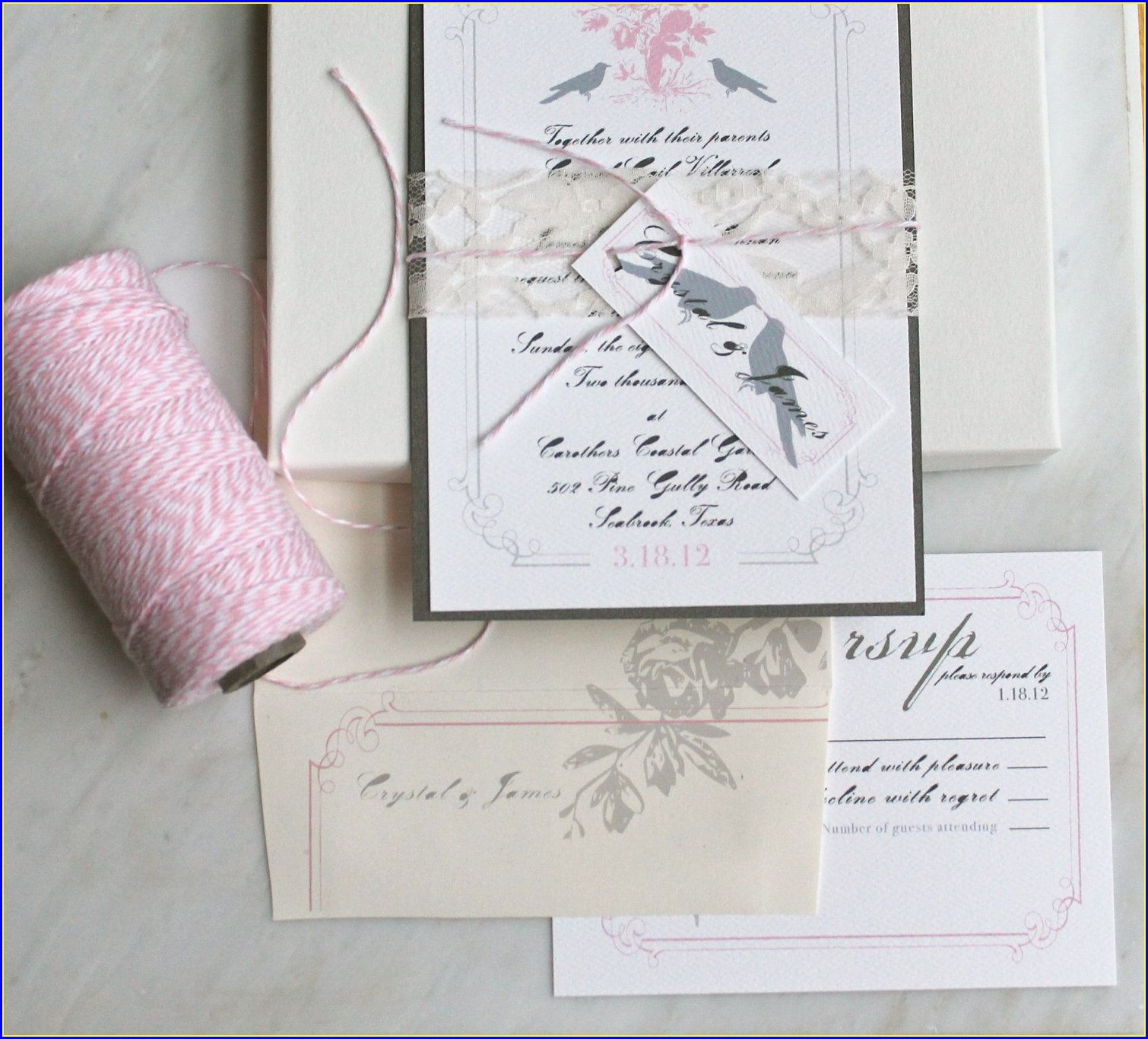 Rustic Pink And Grey Wedding Invitations