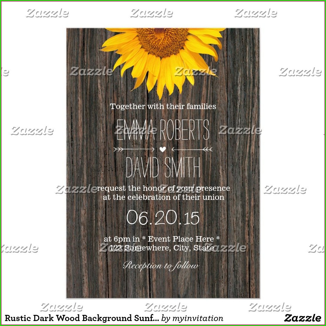 Rustic Sunflower Invitation Background
