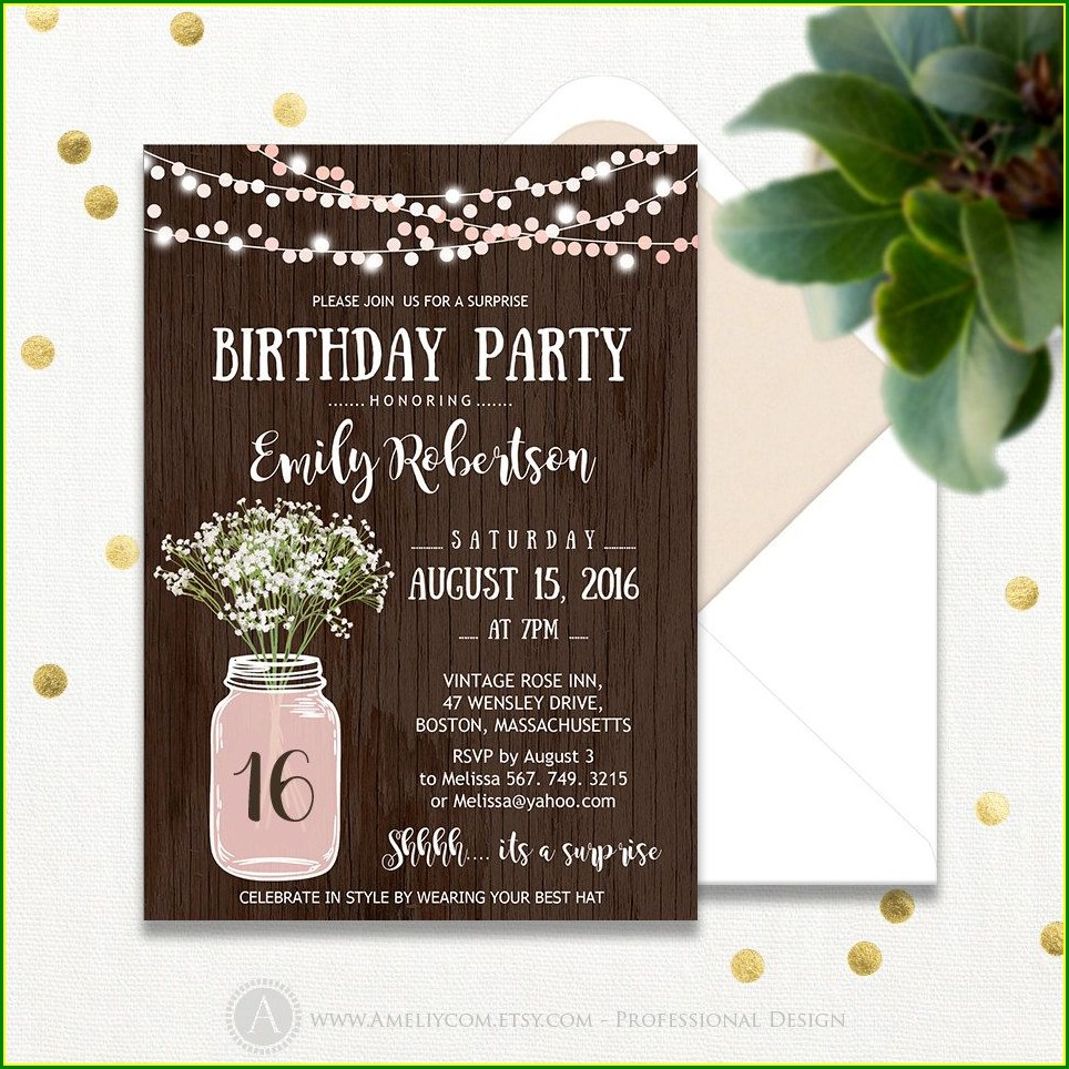 Rustic Sweet 16 Invitations