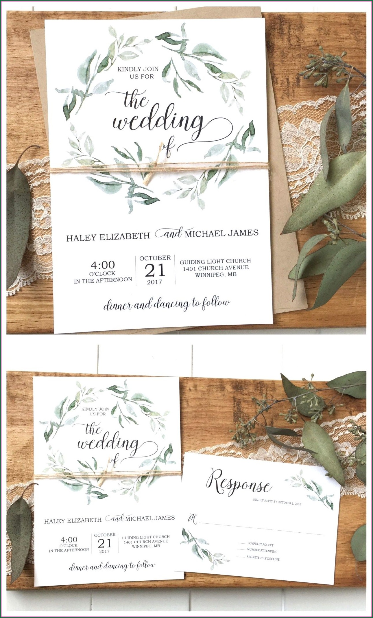 Rustic Wedding Invitations Etsy