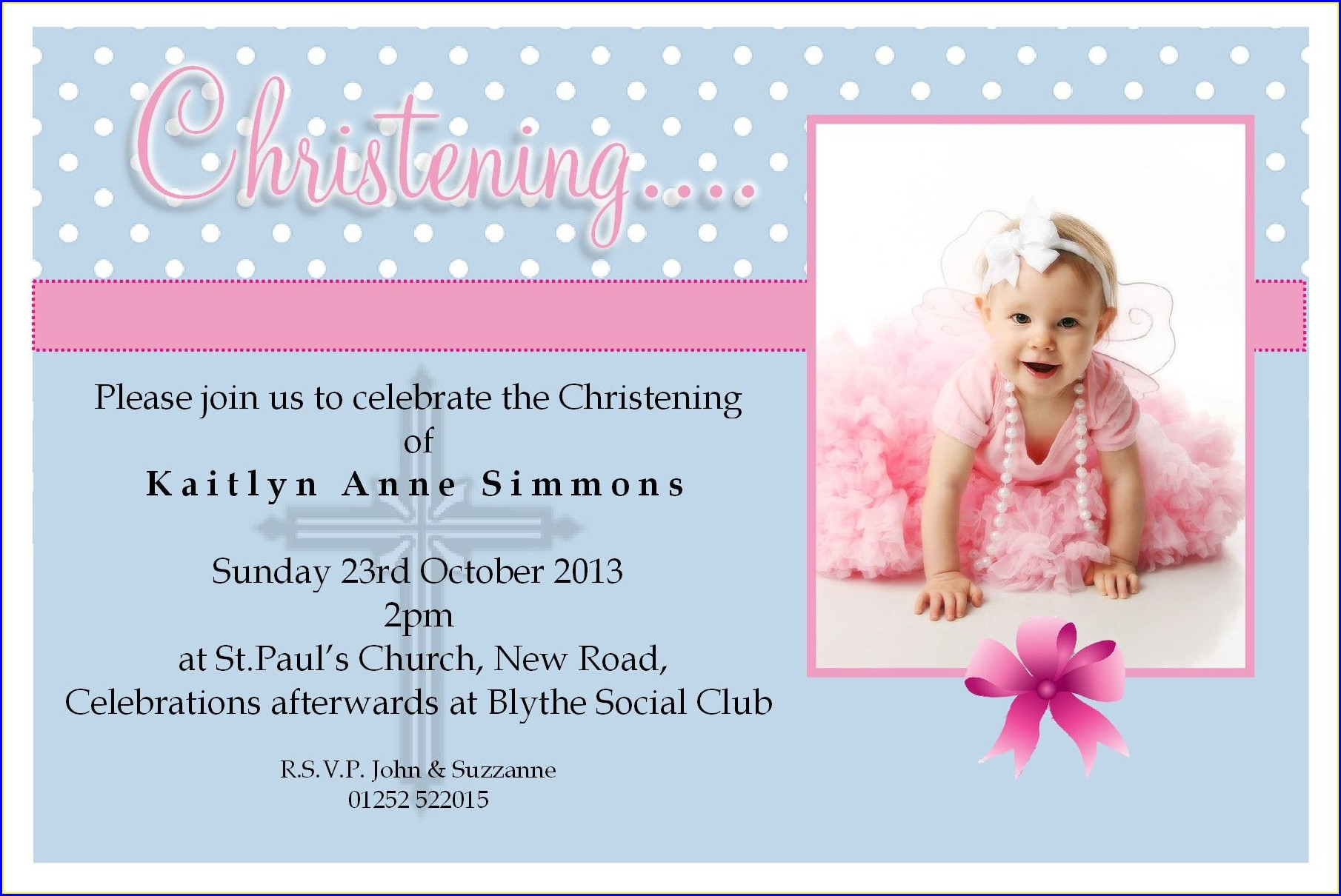 Sample Baptismal Invitation Card Designs