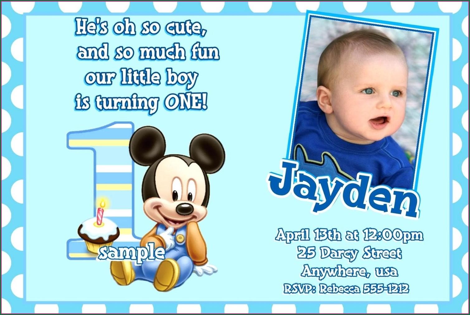 Sample Baptismal Invitation For Baby Boy