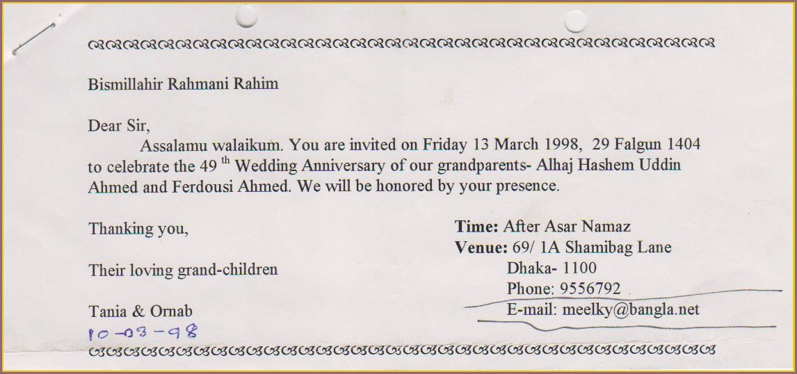 Sample Invitation Letter Church Choir Anniversary