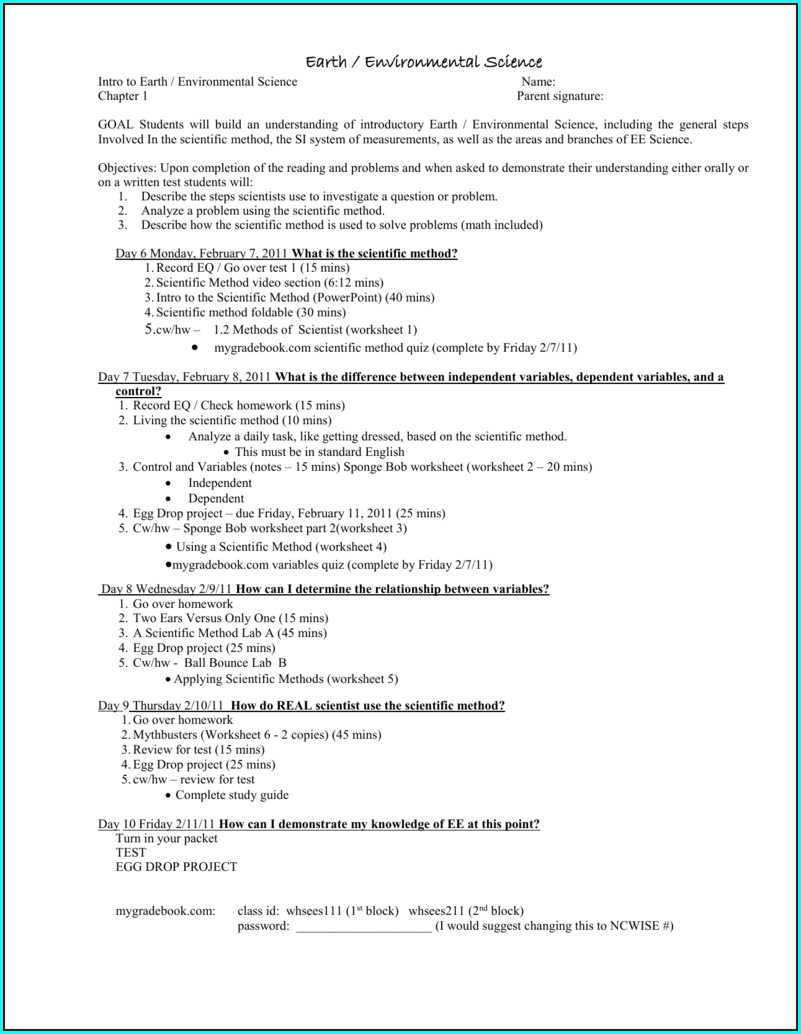 Scientific Method Review Worksheet Sciencespotnet