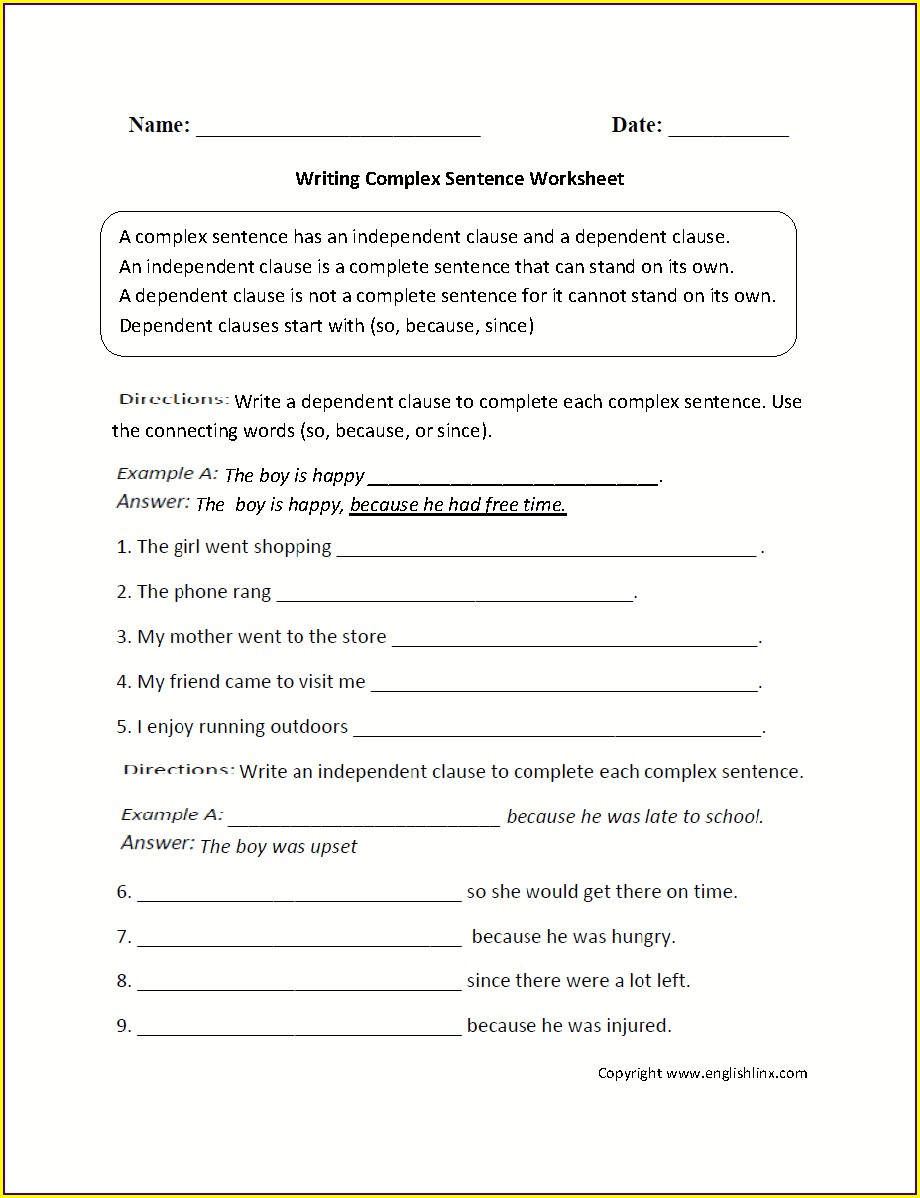 Sentence Structure Writing Complete Sentences Worksheets