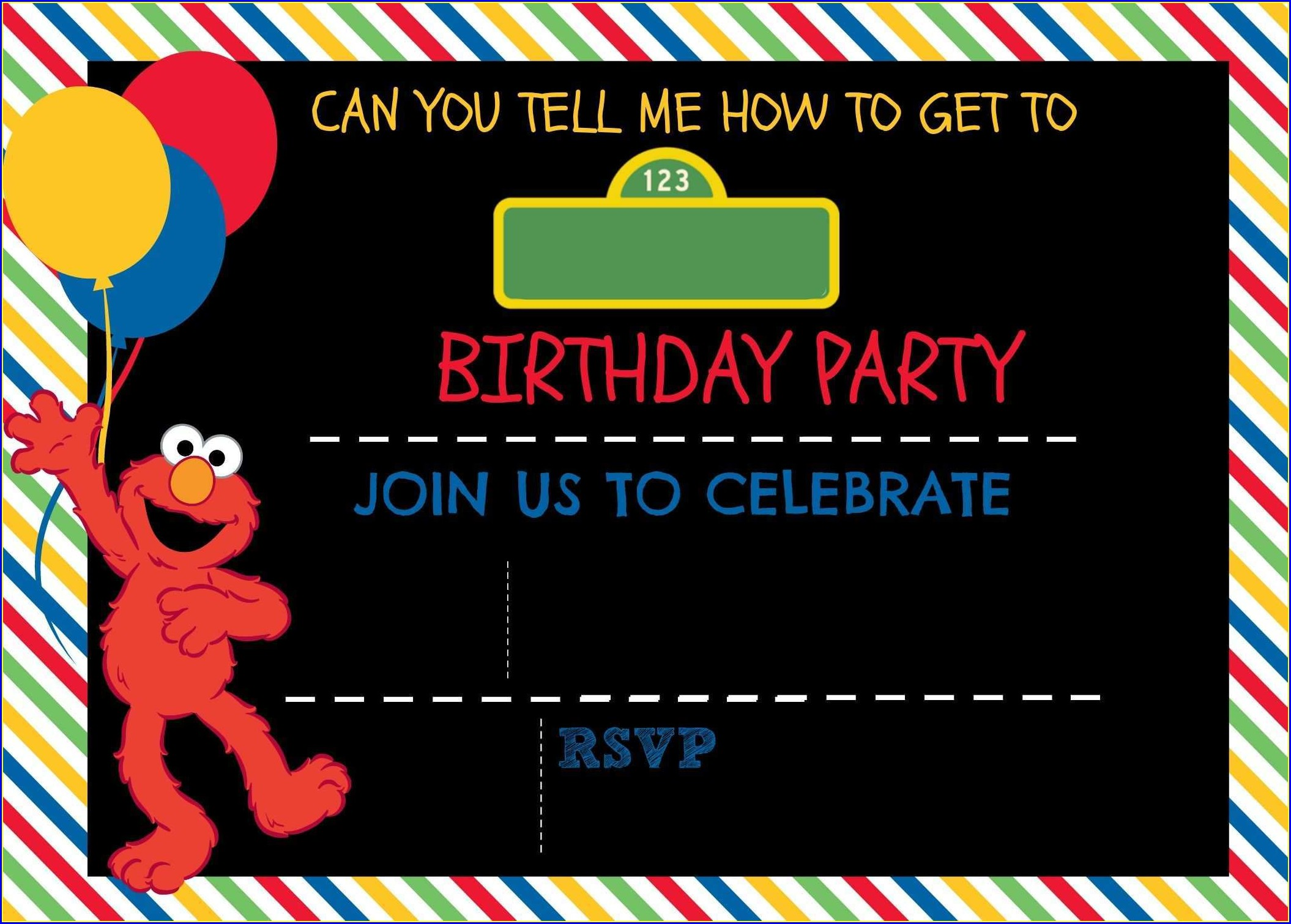 Sesame Street Invitation Blank Template