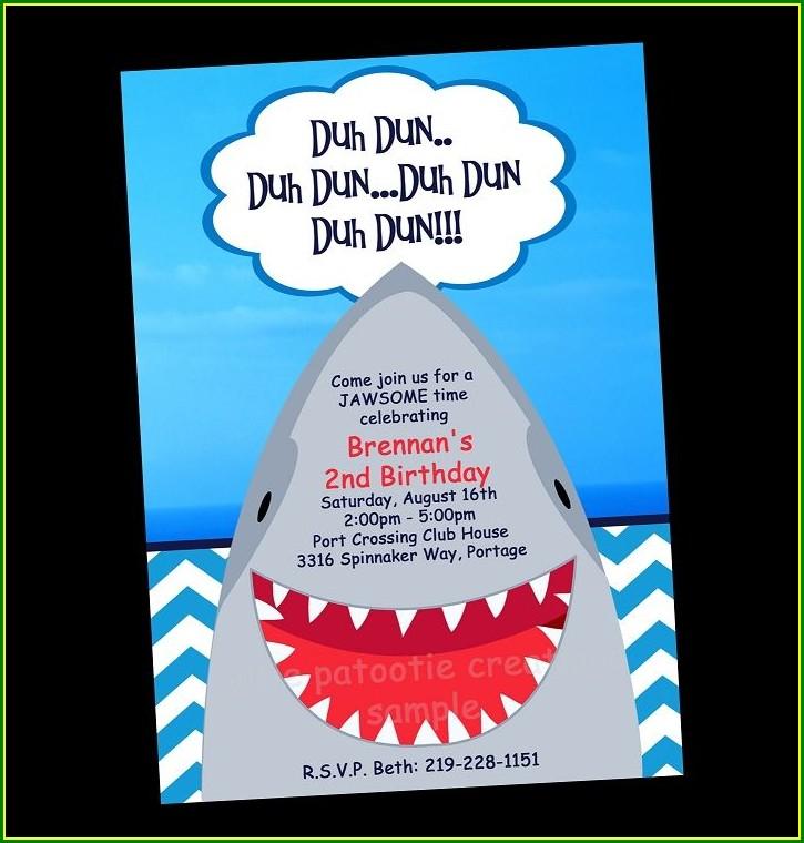 Shark Invitations Free Printable