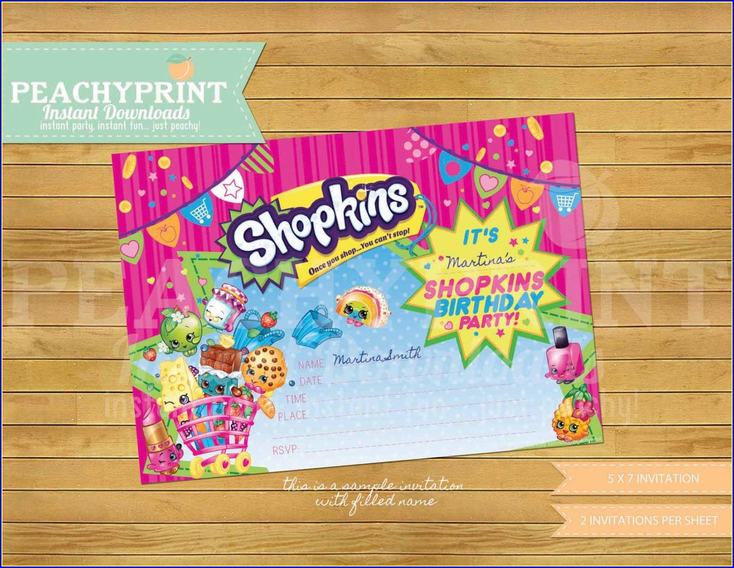 Shopkins Birthday Invitations Templates Free