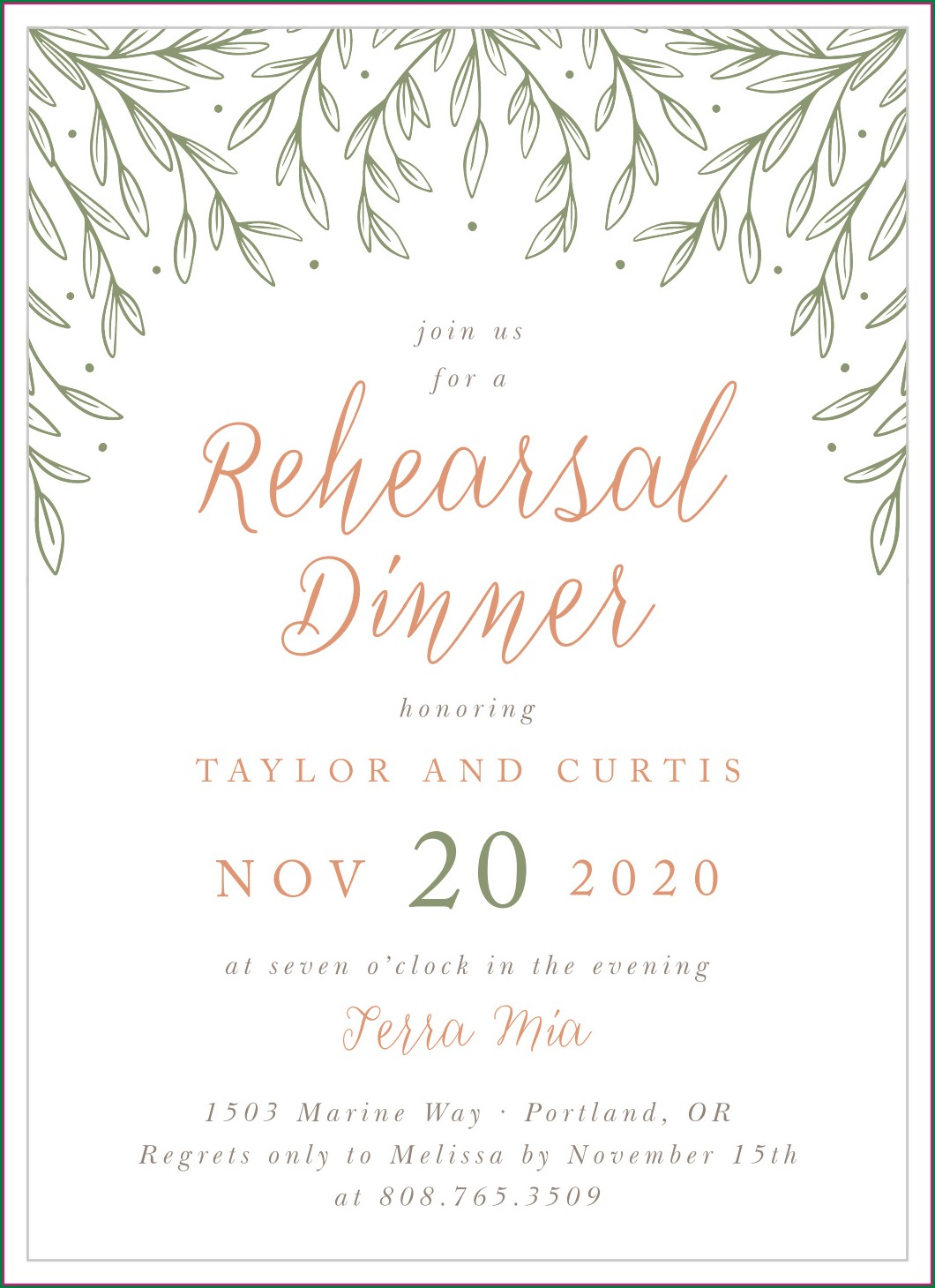 Shutterfly Rehearsal Dinner Invitations
