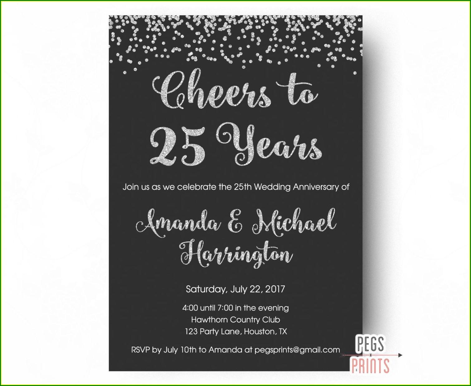 Silver Jubilee Invitation Cards Wordings