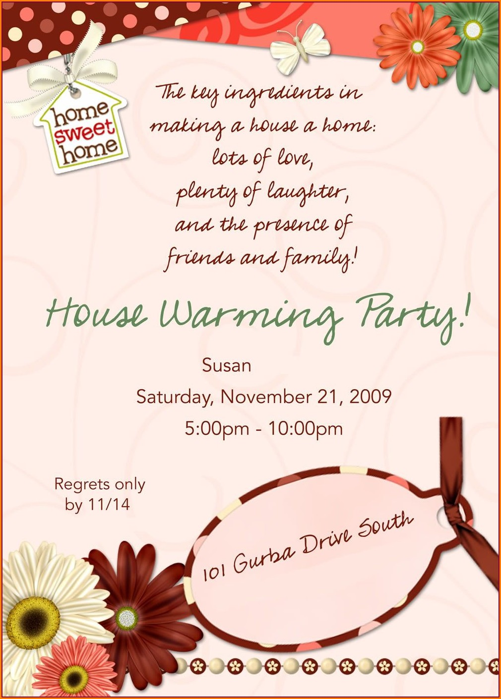 Simple House Warming Invitation Message