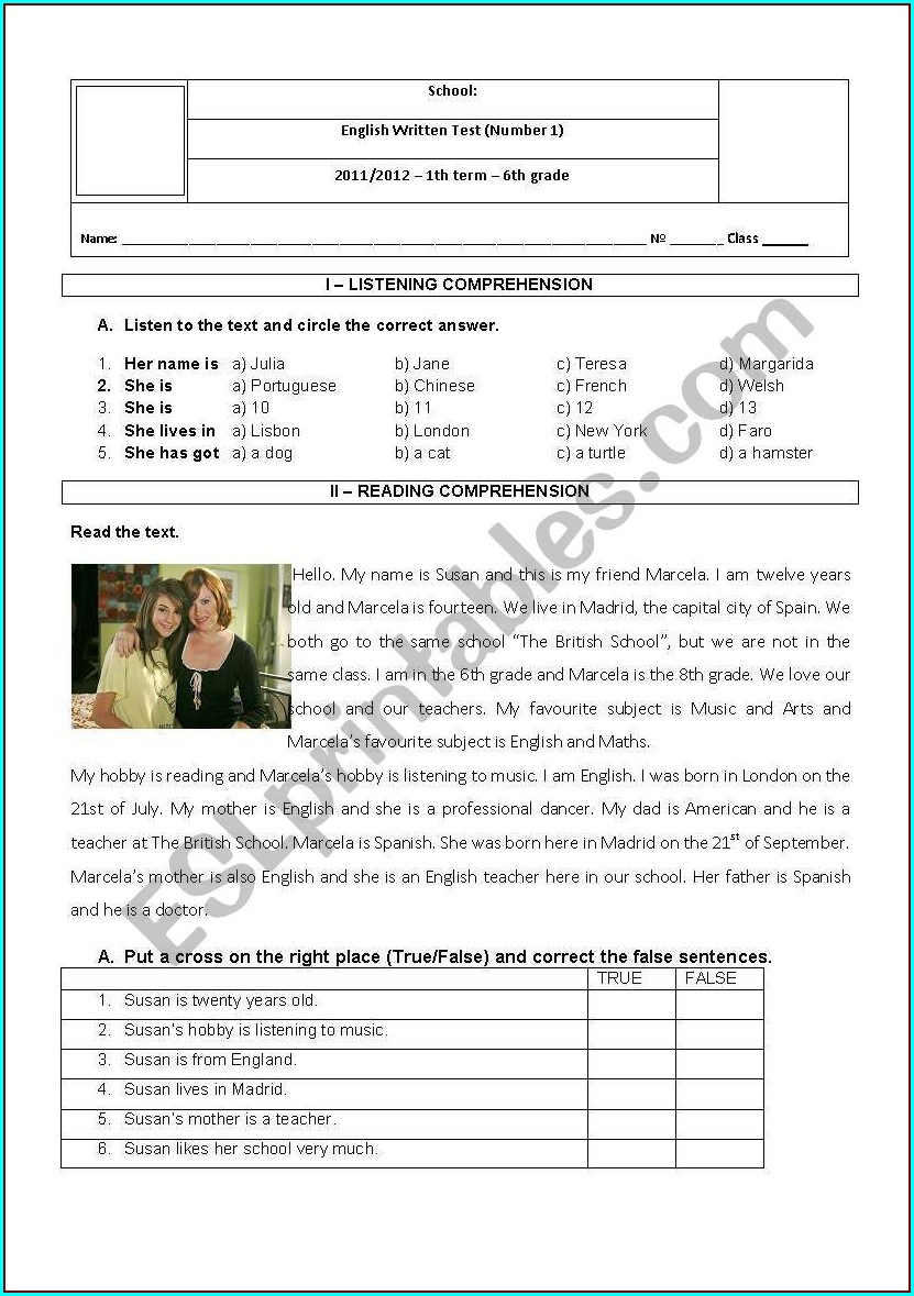 Sixth Grade Grade 6 English Worksheets With Answers