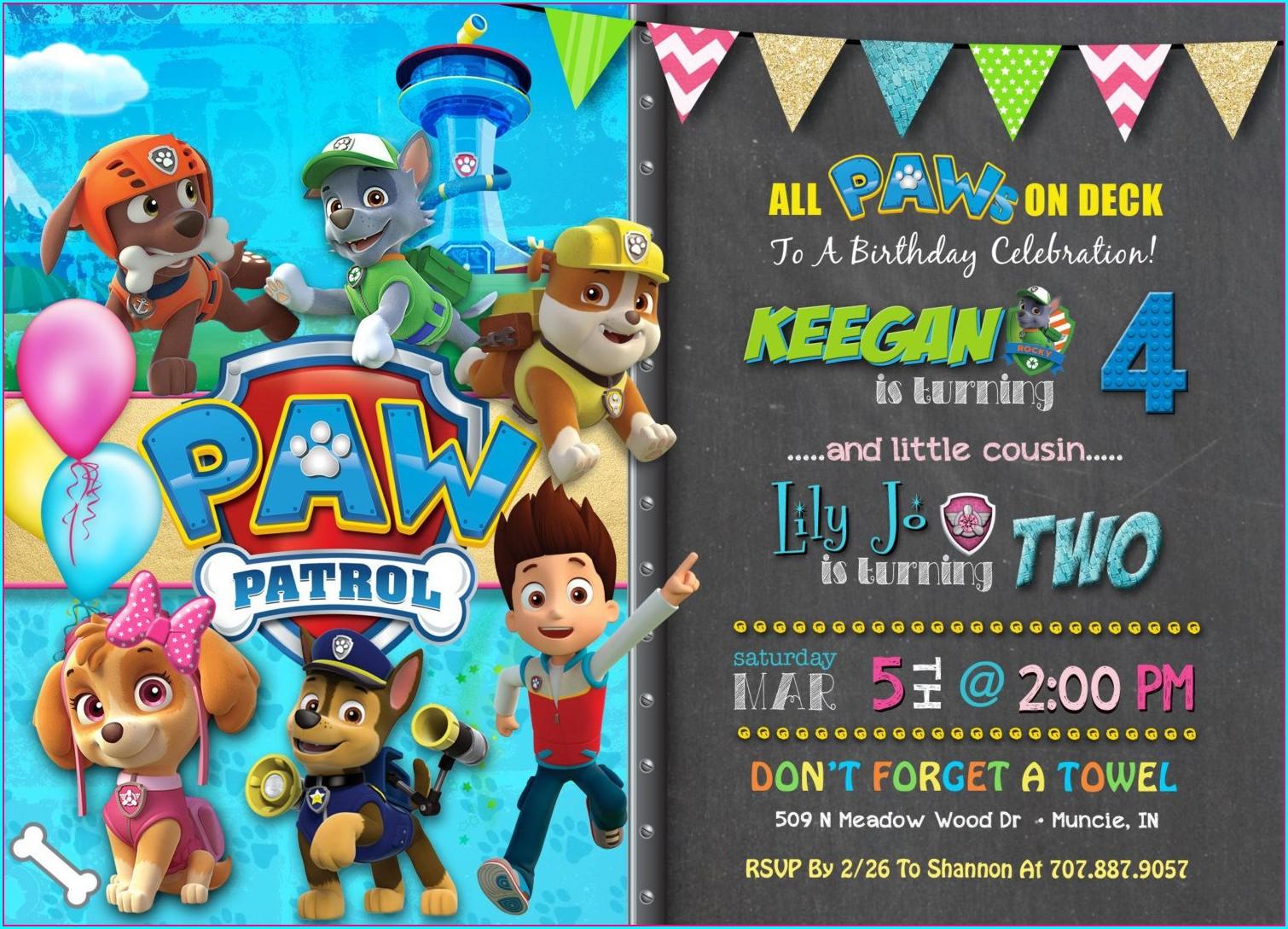 Skye Paw Patrol Birthday Invitations