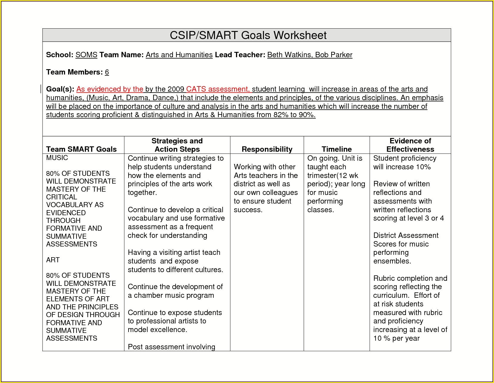 Smart Goals Worksheet For Education