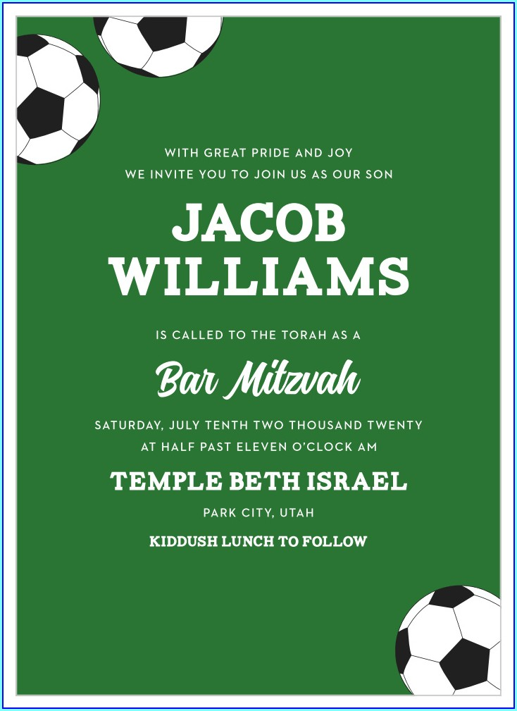 Soccer Bar Mitzvah Invitations