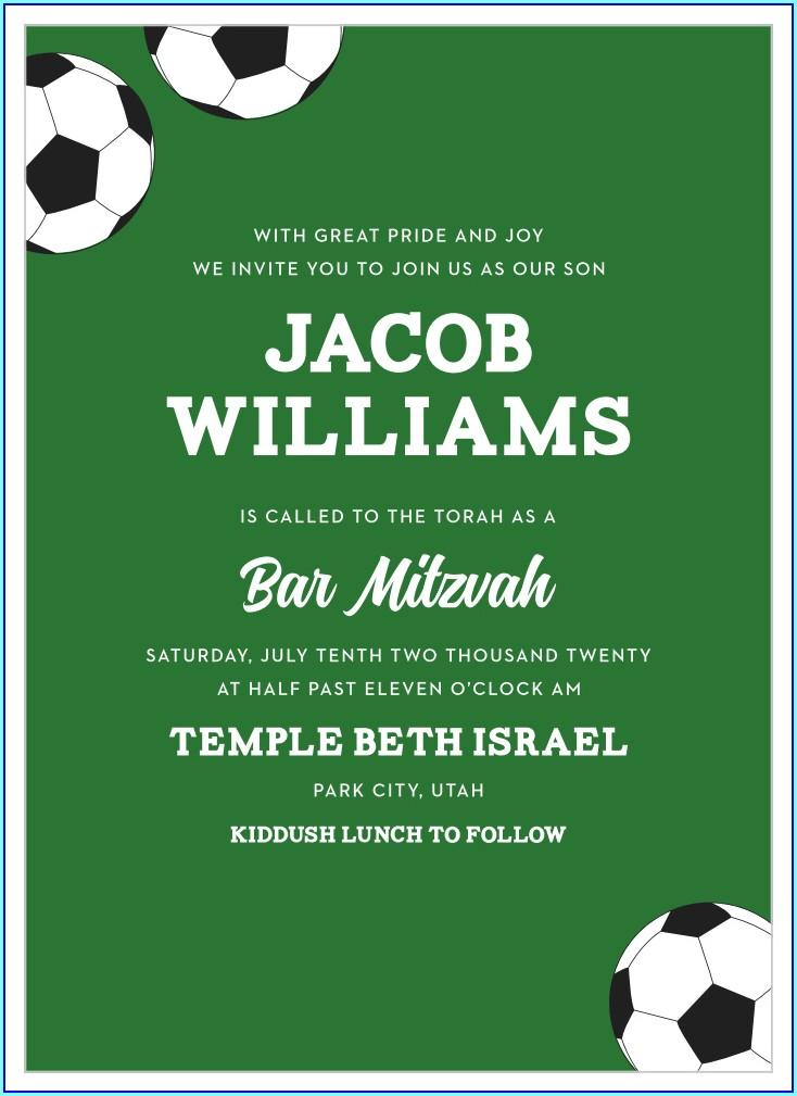 Soccer Bar Mitzvah Invitations