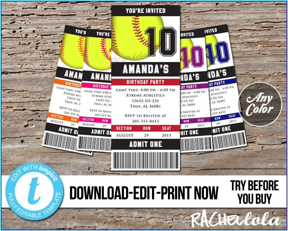 Softball Birthday Invitations Templates