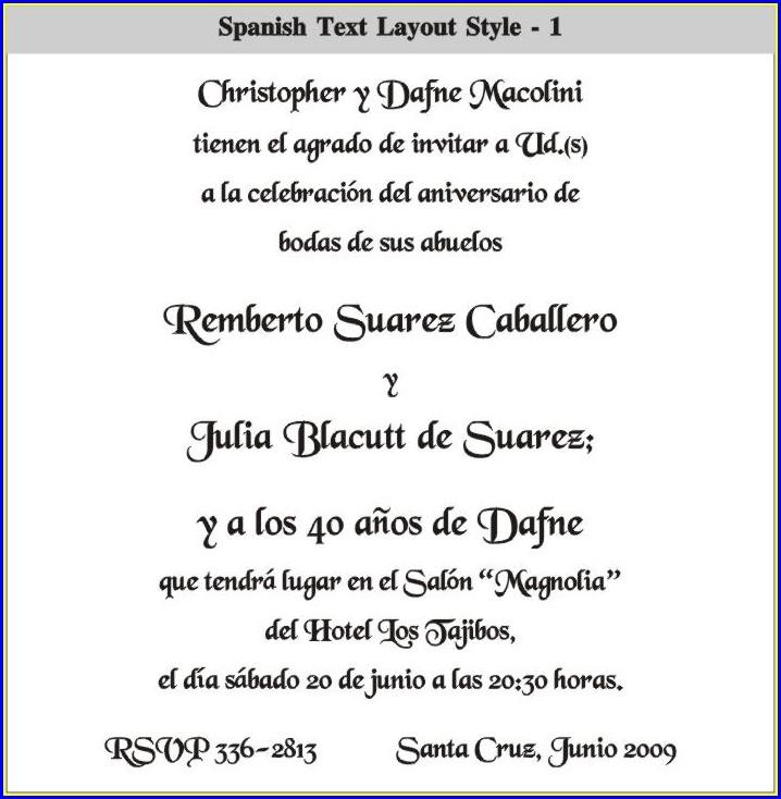 Spanish Invitation Wording For Birthdays